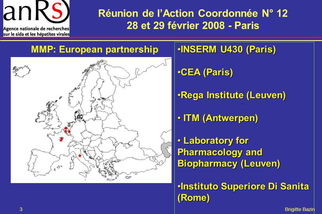 Réunion de lAction Coordonnée N° 12 28 et 29 février 2008 - Paris 3 Brigitte Bazin MMP: European partnership INSERM U430 (Paris)INSERM U430 (Paris) CE