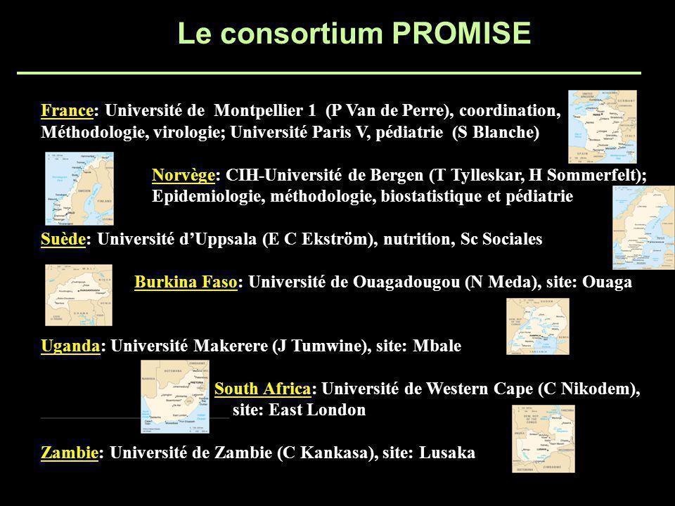 Le consortium PROMISE France: Université de Montpellier 1 (P Van de Perre), coordination, Méthodologie, virologie; Université Paris V, pédiatrie (S Blanche) Norvège: CIH-Université de Bergen (T Tylleskar, H Sommerfelt); Epidemiologie, méthodologie, biostatistique et pédiatrie Suède: Université dUppsala (E C Ekström), nutrition, Sc Sociales Burkina Faso: Université de Ouagadougou (N Meda), site: Ouaga Uganda: Université Makerere (J Tumwine), site: Mbale South Africa: Université de Western Cape (C Nikodem), _____________________ site: East London Zambie: Université de Zambie (C Kankasa), site: Lusaka