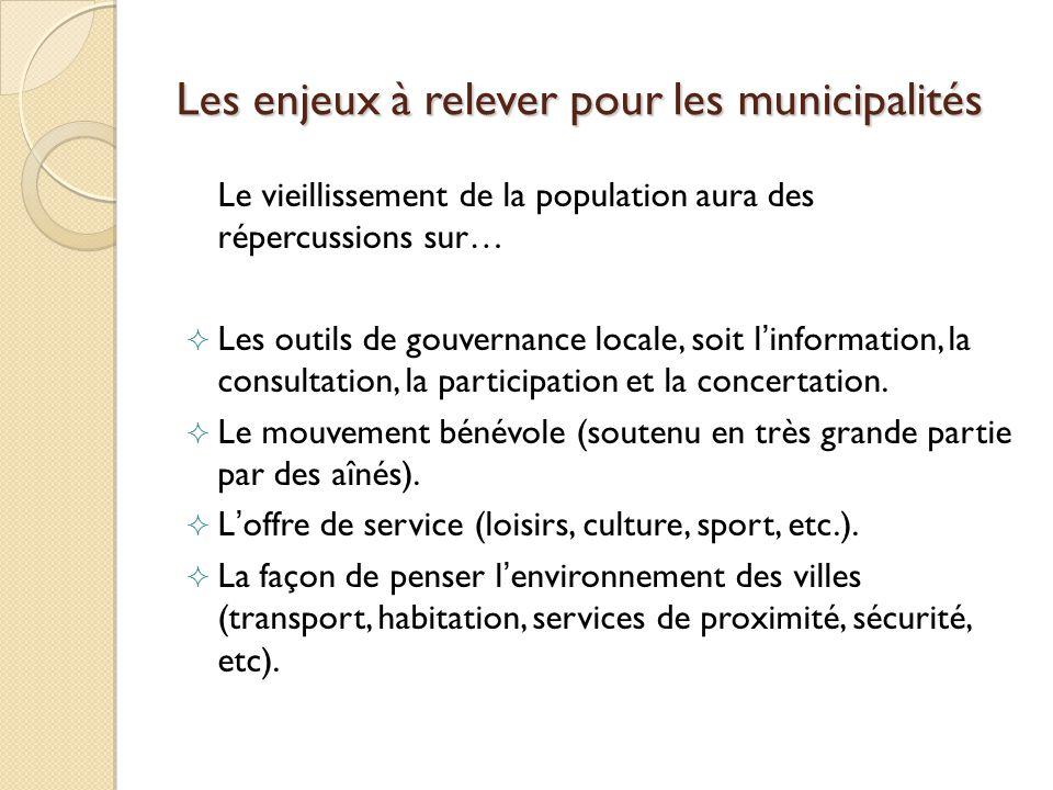 Les enjeux à relever pour les municipalités Le vieillissement de la population aura des répercussions sur… Les outils de gouvernance locale, soit linformation, la consultation, la participation et la concertation.