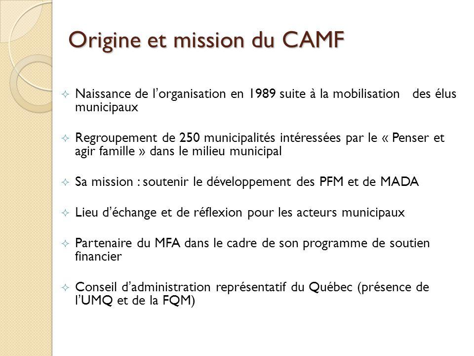 Origine et mission du CAMF Naissance de lorganisation en 1989 suite à la mobilisation des élus municipaux Regroupement de 250 municipalités intéressées par le « Penser et agir famille » dans le milieu municipal Sa mission : soutenir le développement des PFM et de MADA Lieu déchange et de réflexion pour les acteurs municipaux Partenaire du MFA dans le cadre de son programme de soutien financier Conseil dadministration représentatif du Québec (présence de lUMQ et de la FQM)