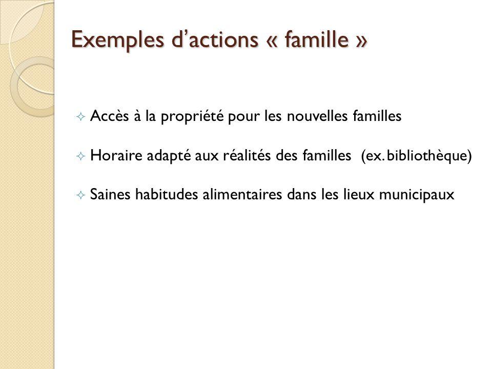 Exemples dactions « famille » Accès à la propriété pour les nouvelles familles Horaire adapté aux réalités des familles (ex.