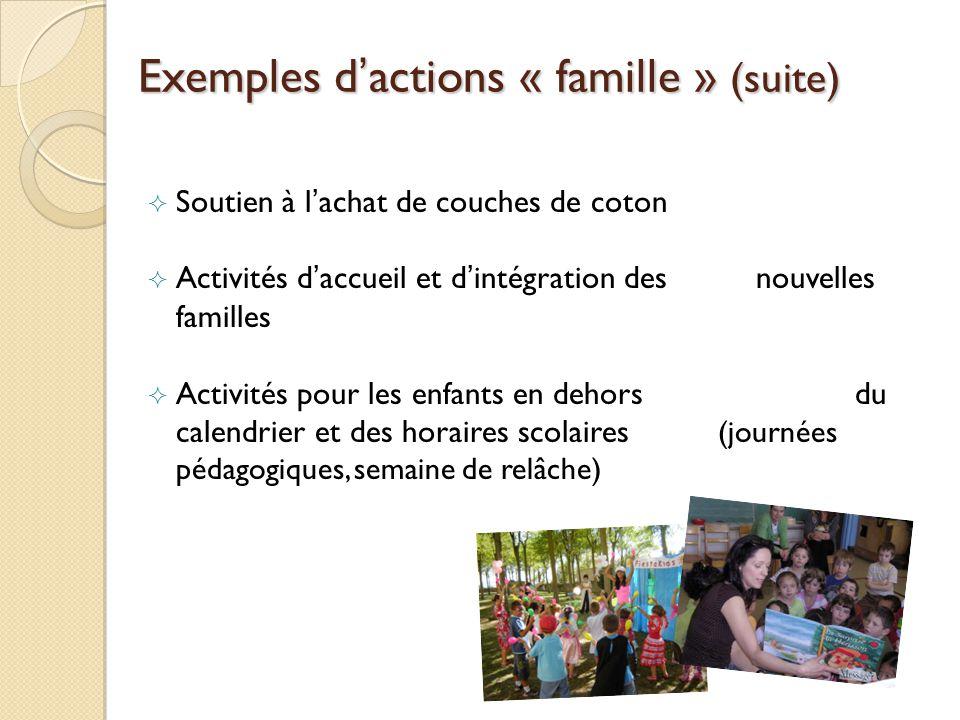 Exemples dactions « famille » (suite) Soutien à lachat de couches de coton Activités daccueil et dintégration des nouvelles familles Activités pour les enfants en dehors du calendrier et des horaires scolaires (journées pédagogiques, semaine de relâche)