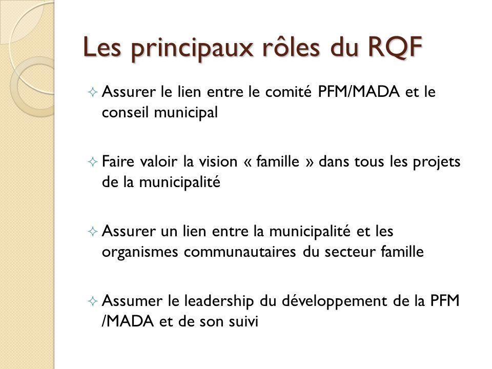 Les principaux rôles du RQF Assurer le lien entre le comité PFM/MADA et le conseil municipal Faire valoir la vision « famille » dans tous les projets de la municipalité Assurer un lien entre la municipalité et les organismes communautaires du secteur famille Assumer le leadership du développement de la PFM /MADA et de son suivi