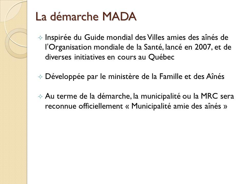 La démarche MADA Inspirée du Guide mondial des Villes amies des aînés de lOrganisation mondiale de la Santé, lancé en 2007, et de diverses initiatives en cours au Québec Développée par le ministère de la Famille et des Aînés Au terme de la démarche, la municipalité ou la MRC sera reconnue officiellement « Municipalité amie des aînés »
