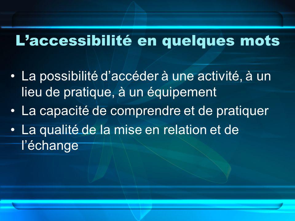 Laccessibilité en quelques mots La possibilité daccéder à une activité, à un lieu de pratique, à un équipement La capacité de comprendre et de pratiquer La qualité de la mise en relation et de léchange