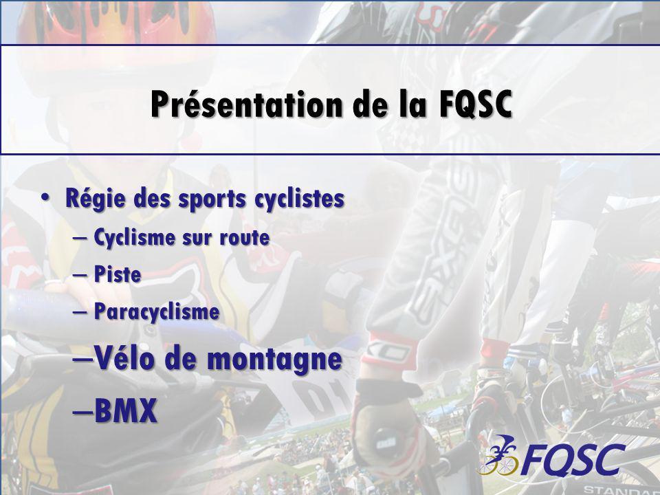 Présentation de la FQSC Régie des sports cyclistes Régie des sports cyclistes – Cyclisme sur route – Piste – Paracyclisme – Vélo de montagne – BMX