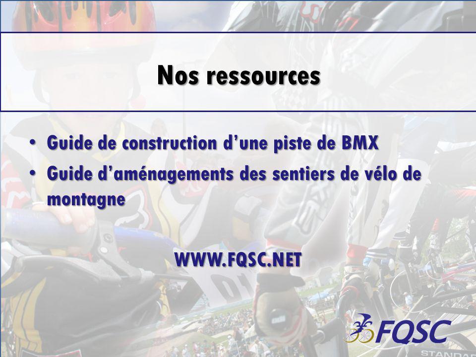 Nos ressources Guide de construction dune piste de BMX Guide de construction dune piste de BMX Guide daménagements des sentiers de vélo de montagne Guide daménagements des sentiers de vélo de montagneWWW.FQSC.NET