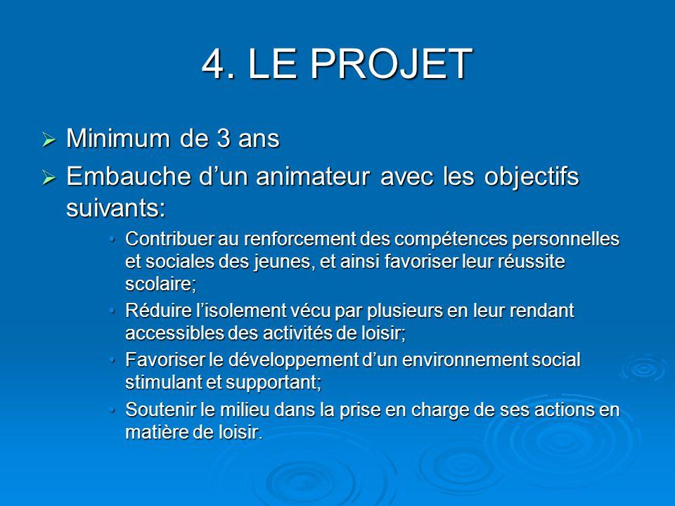 4. LE PROJET Minimum de 3 ans Minimum de 3 ans Embauche dun animateur avec les objectifs suivants: Embauche dun animateur avec les objectifs suivants: