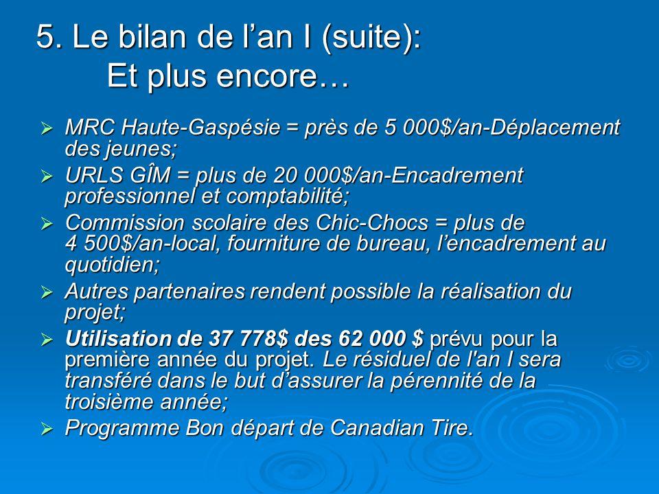 5. Le bilan de lan I (suite): Et plus encore… MRC Haute-Gaspésie = près de 5 000$/an-Déplacement des jeunes; MRC Haute-Gaspésie = près de 5 000$/an-Dé