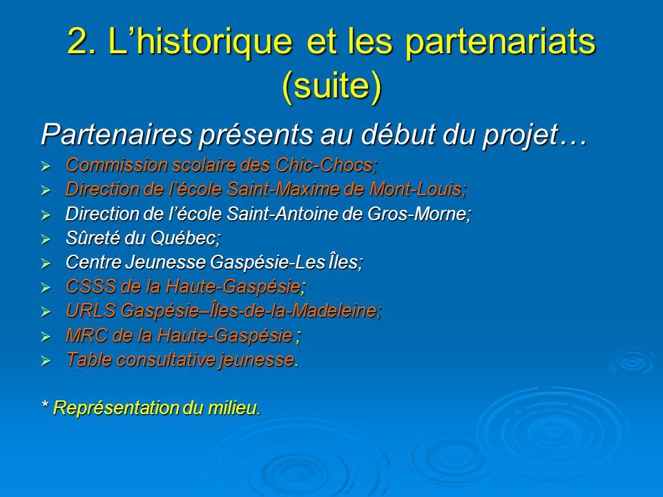 2. Lhistorique et les partenariats (suite) Partenaires présents au début du projet… Commission scolaire des Chic-Chocs; Commission scolaire des Chic-C