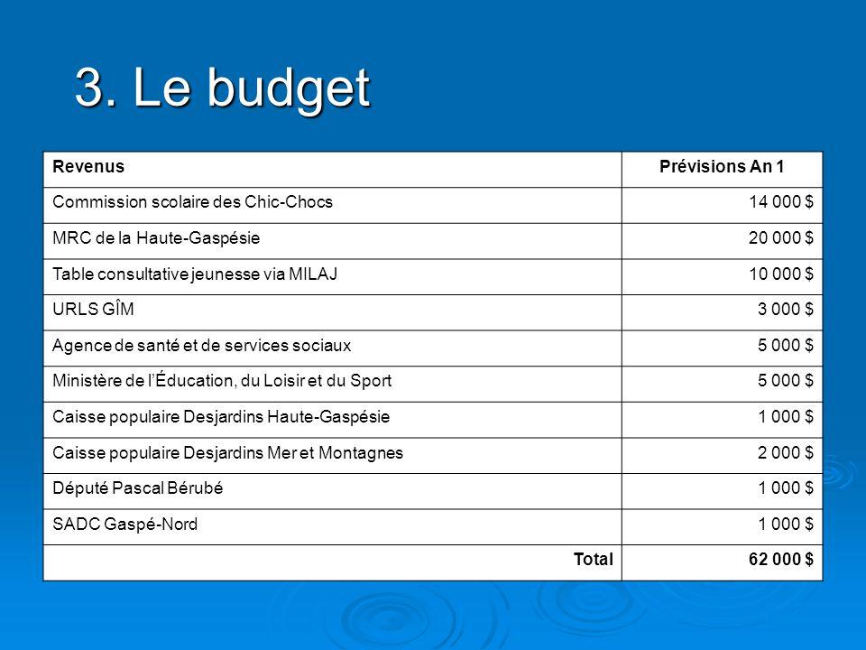 3. Le budget RevenusPrévisions An 1 Commission scolaire des Chic-Chocs14 000 $ MRC de la Haute-Gaspésie20 000 $ Table consultative jeunesse via MILAJ1