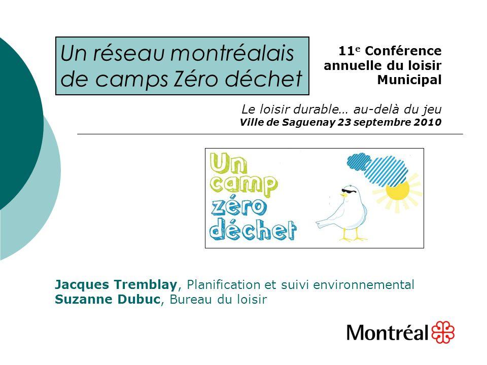 Jacques Tremblay, Planification et suivi environnemental Suzanne Dubuc, Bureau du loisir 11 e Conférence annuelle du loisir Municipal Le loisir durabl