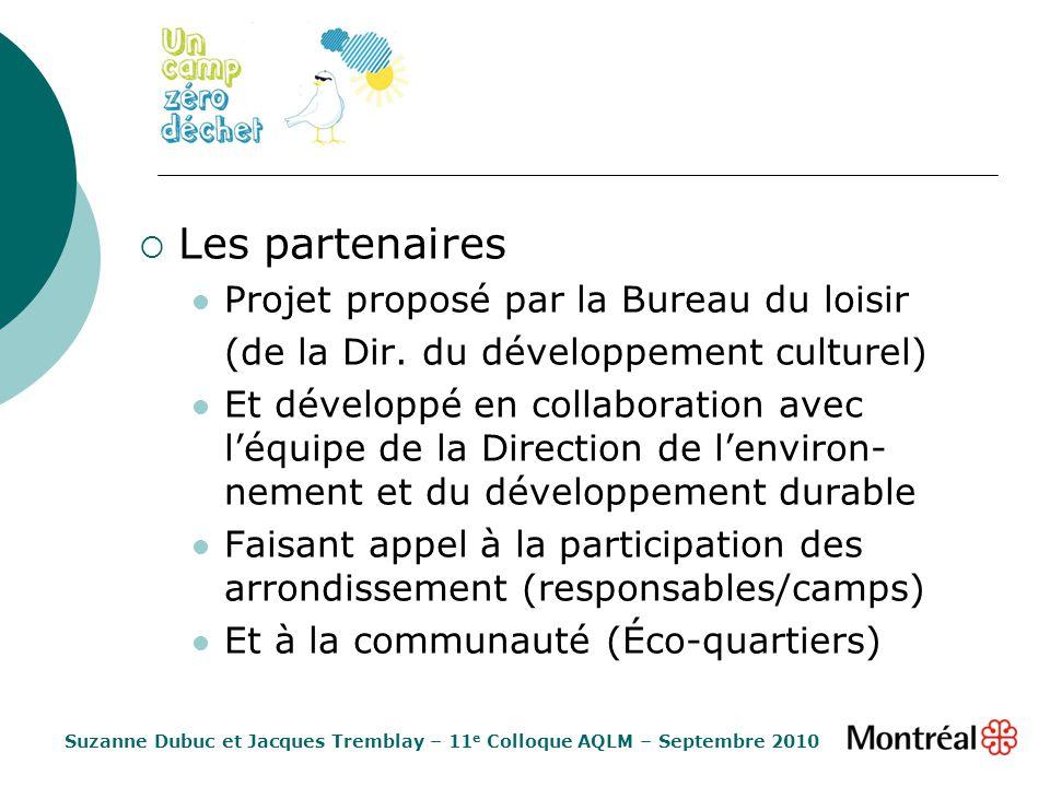 Les partenaires Projet proposé par la Bureau du loisir (de la Dir. du développement culturel) Et développé en collaboration avec léquipe de la Directi