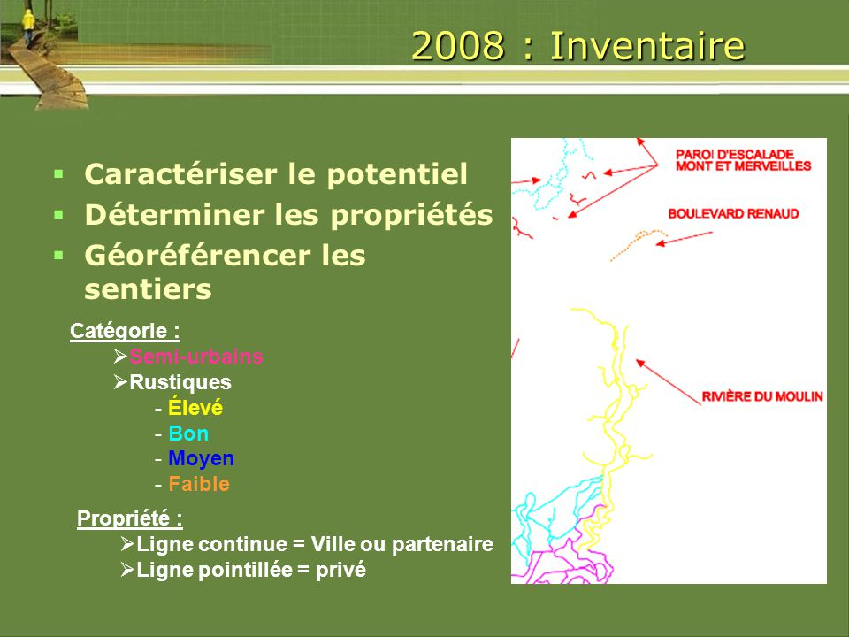 2008 : Inventaire Cartographier les sentiers