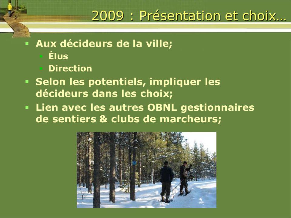 2009 : Présentation et choix… Aux décideurs de la ville; Élus Direction Selon les potentiels, impliquer les décideurs dans les choix; Lien avec les autres OBNL gestionnaires de sentiers & clubs de marcheurs;