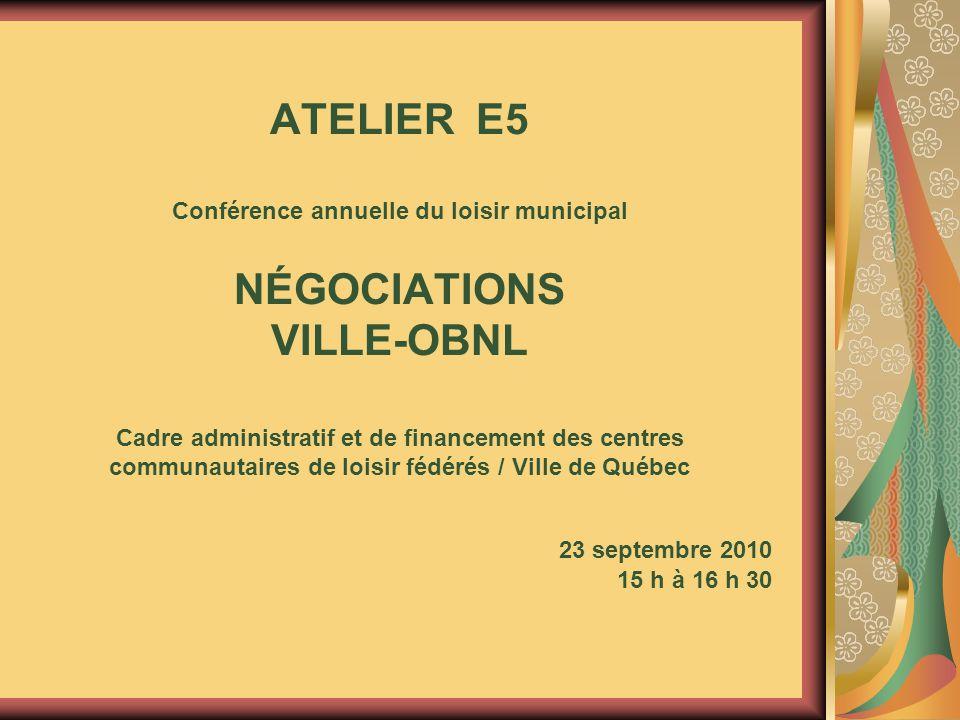 ATELIER E5 Conférence annuelle du loisir municipal NÉGOCIATIONS VILLE-OBNL Cadre administratif et de financement des centres communautaires de loisir fédérés / Ville de Québec 23 septembre 2010 15 h à 16 h 30