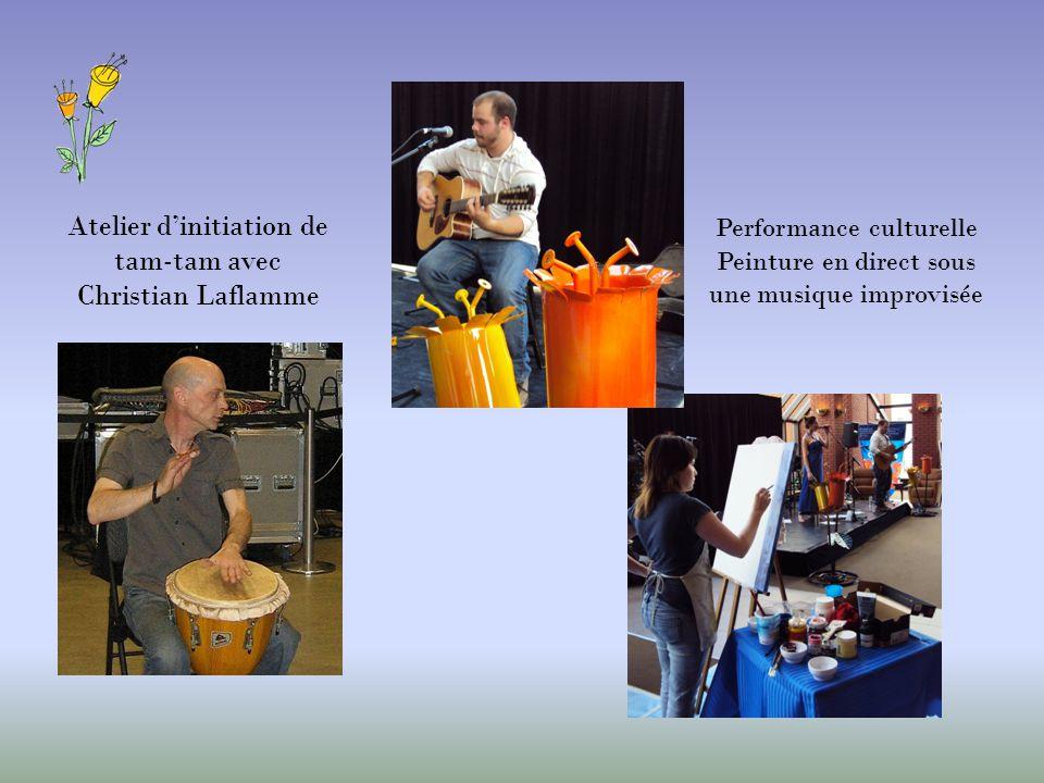 Atelier dinitiation de tam-tam avec Christian Laflamme Performance culturelle Peinture en direct sous une musique improvisée