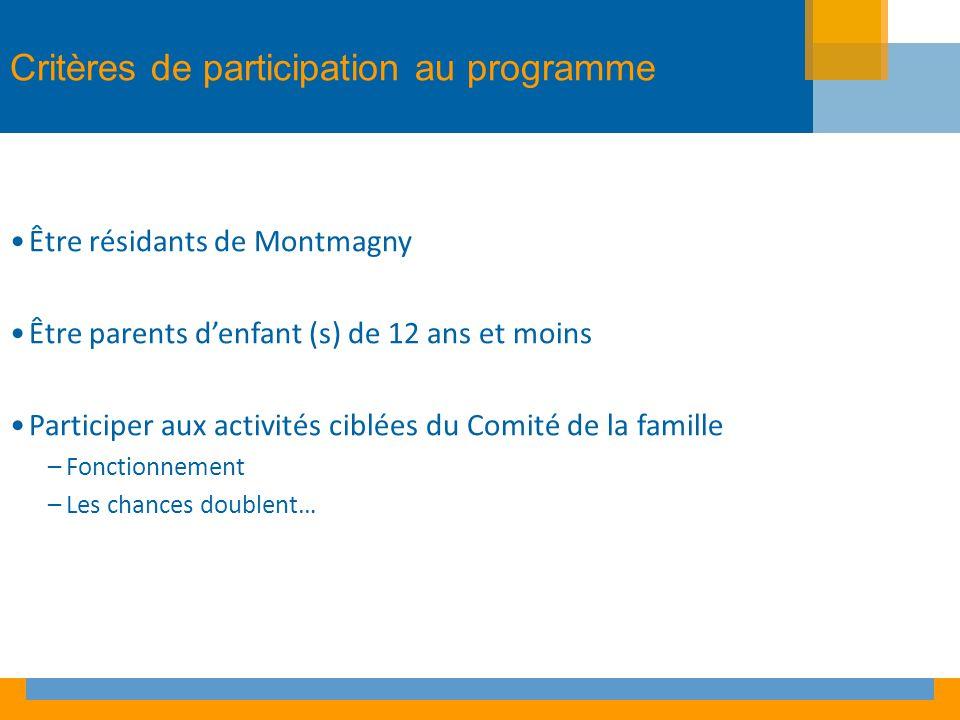 Critères de participation au programme Être résidants de Montmagny Être parents denfant (s) de 12 ans et moins Participer aux activités ciblées du Comité de la famille –Fonctionnement –Les chances doublent…