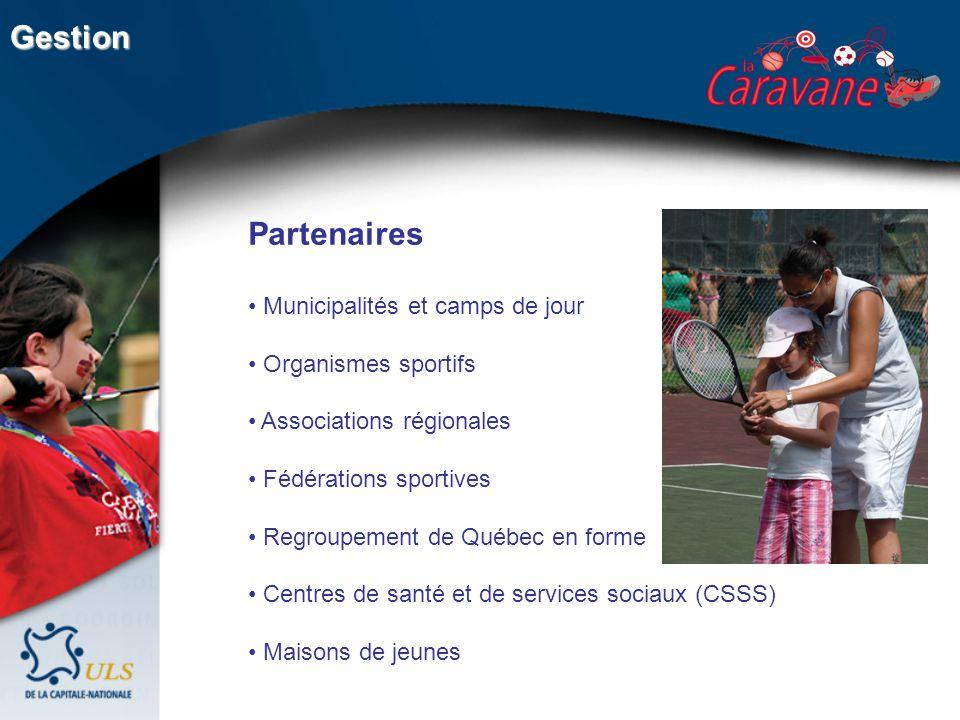 Partenaires Municipalités et camps de jour Organismes sportifs Associations régionales Fédérations sportives Regroupement de Québec en forme Centres de santé et de services sociaux (CSSS) Maisons de jeunes Gestion