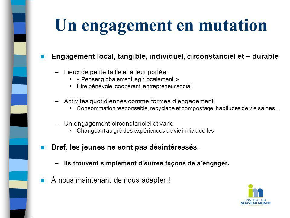Un engagement en mutation Engagement local, tangible, individuel, circonstanciel et – durable –Lieux de petite taille et à leur portée : « Penser glob