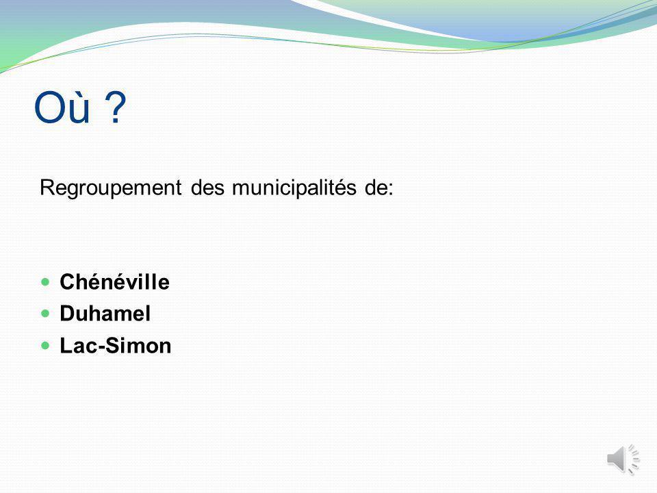 Où ? Regroupement des municipalités de: Chénéville Duhamel Lac-Simon