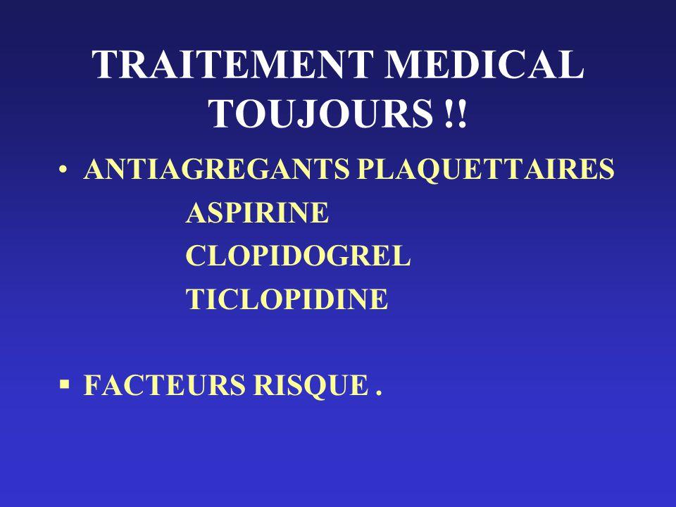 TRAITEMENT MEDICAL TOUJOURS !! ANTIAGREGANTS PLAQUETTAIRES ASPIRINE CLOPIDOGREL TICLOPIDINE FACTEURS RISQUE.