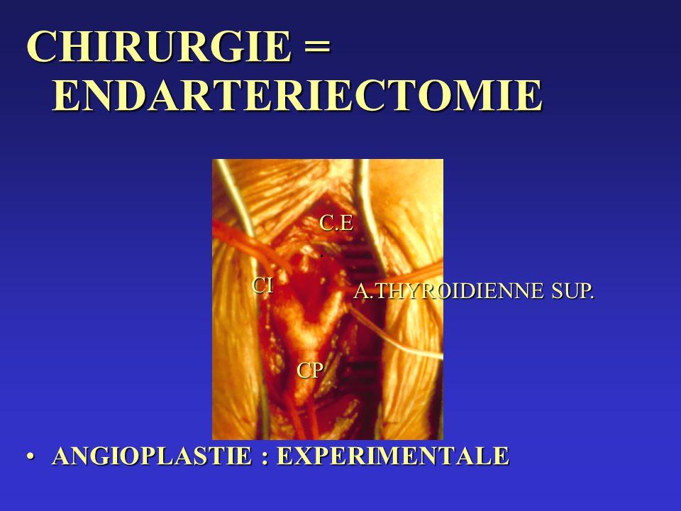 CHIRURGIE = ENDARTERIECTOMIE ANGIOPLASTIE : EXPERIMENTALEANGIOPLASTIE : EXPERIMENTALE CI C.E C.E. CP A.THYROIDIENNE SUP.
