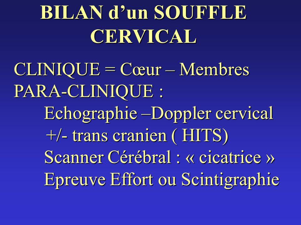 BILAN dun SOUFFLE CERVICAL CLINIQUE = Cœur – Membres PARA-CLINIQUE : Echographie –Doppler cervical +/- trans cranien ( HITS) +/- trans cranien ( HITS)