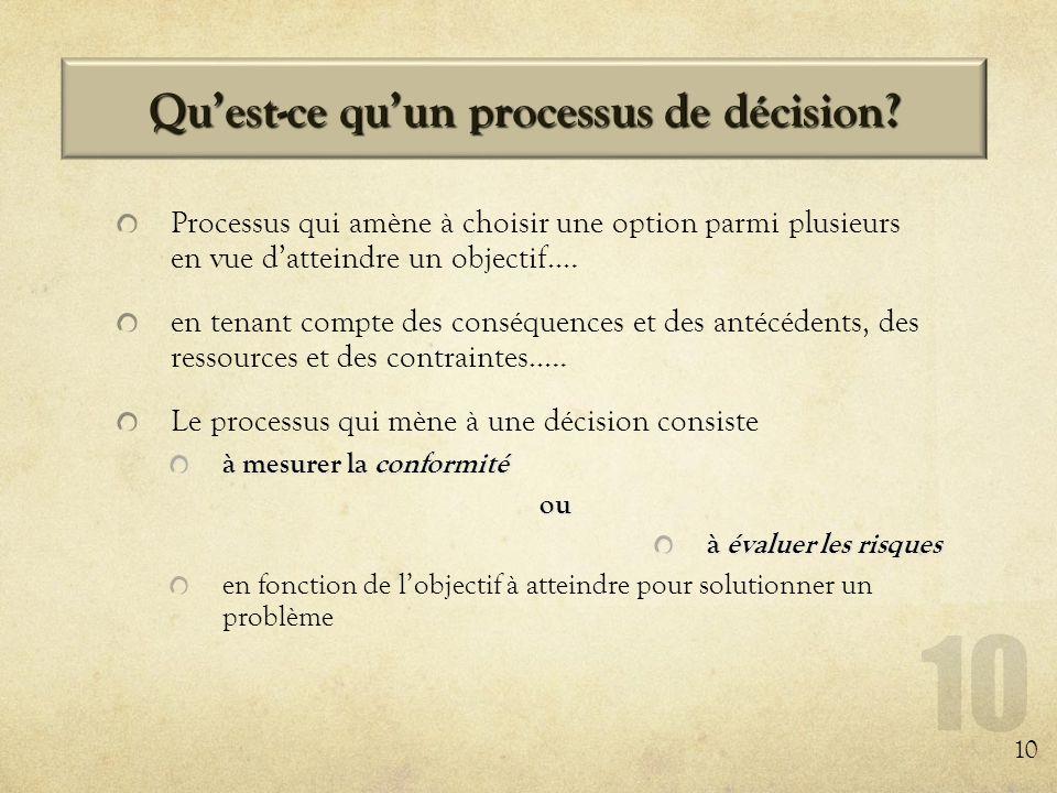 Quest-ce quun processus de décision? Processus qui amène à choisir une option parmi plusieurs en vue datteindre un objectif…. en tenant compte des con
