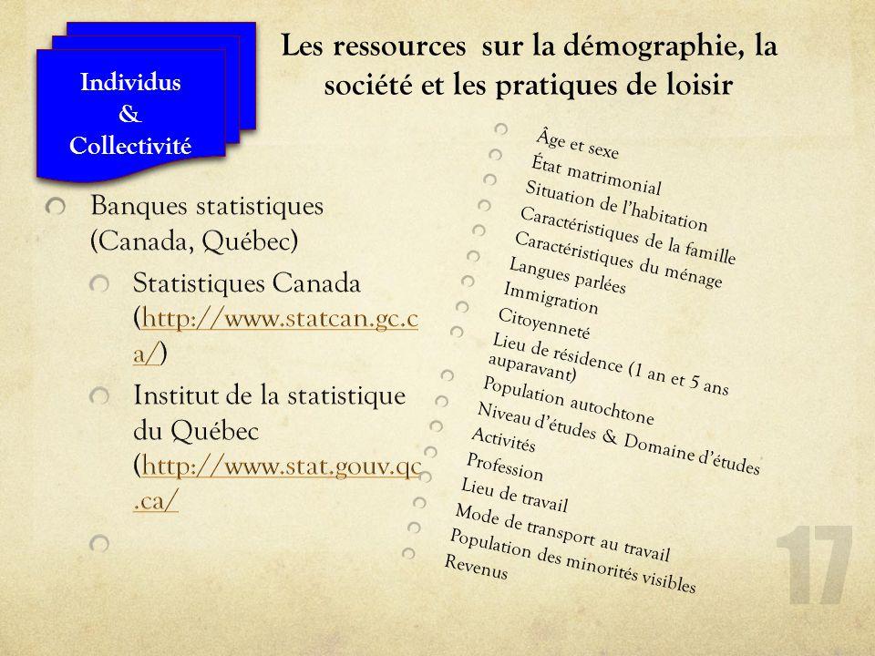 Les ressources sur la démographie, la société et les pratiques de loisir Âge et sexe État matrimonial Situation de lhabitation Caractéristiques de la