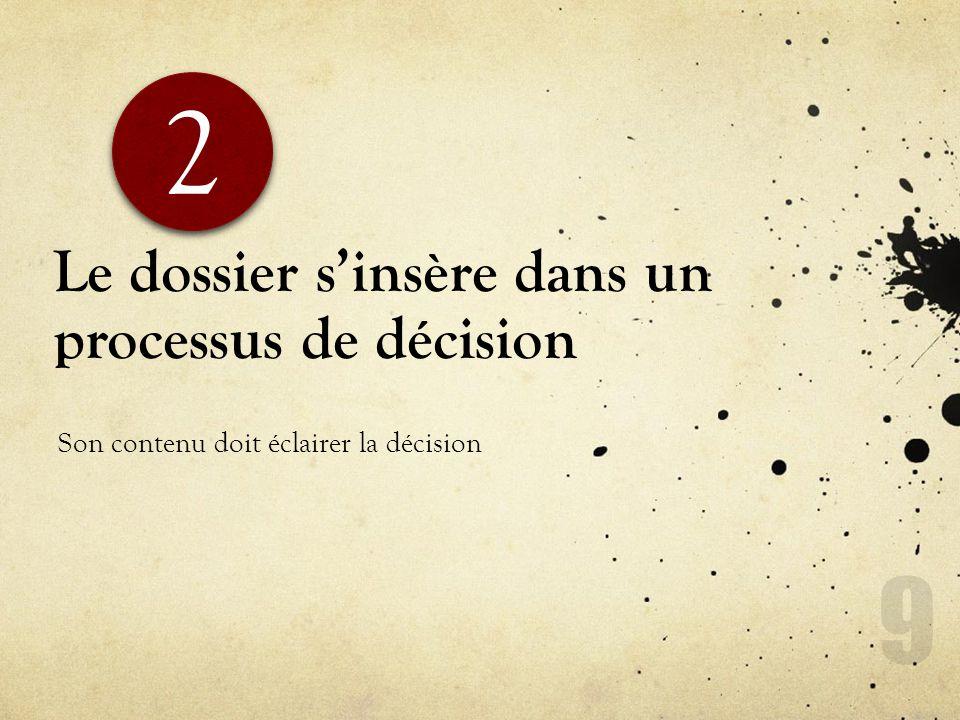 Le dossier sinsère dans un processus de décision Son contenu doit éclairer la décision 2 2 9