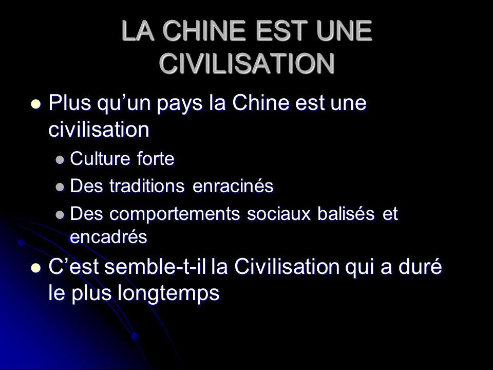 LA CHINE EST UNE CIVILISATION Plus quun pays la Chine est une civilisation Plus quun pays la Chine est une civilisation Culture forte Culture forte De