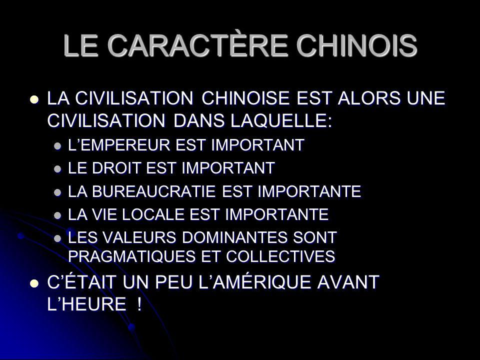 LE CARACTÈRE CHINOIS LA CIVILISATION CHINOISE EST ALORS UNE CIVILISATION DANS LAQUELLE: LA CIVILISATION CHINOISE EST ALORS UNE CIVILISATION DANS LAQUE