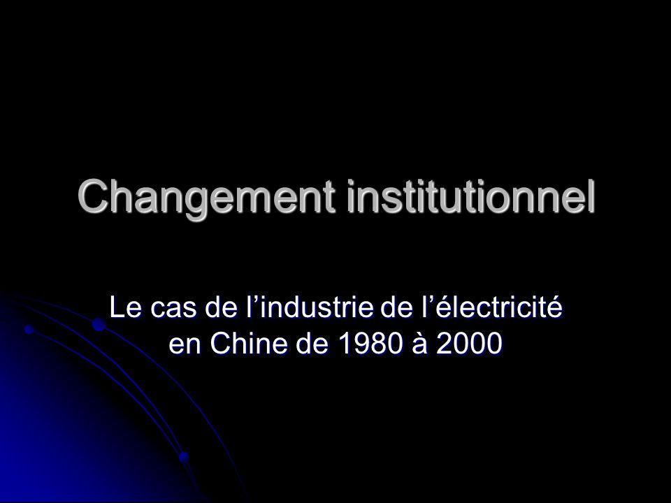 Changement institutionnel Le cas de lindustrie de lélectricité en Chine de 1980 à 2000