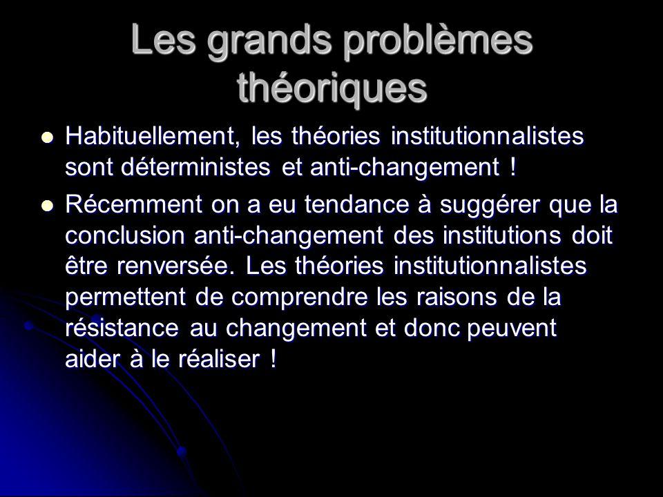 Les grands problèmes théoriques Habituellement, les théories institutionnalistes sont déterministes et anti-changement ! Habituellement, les théories