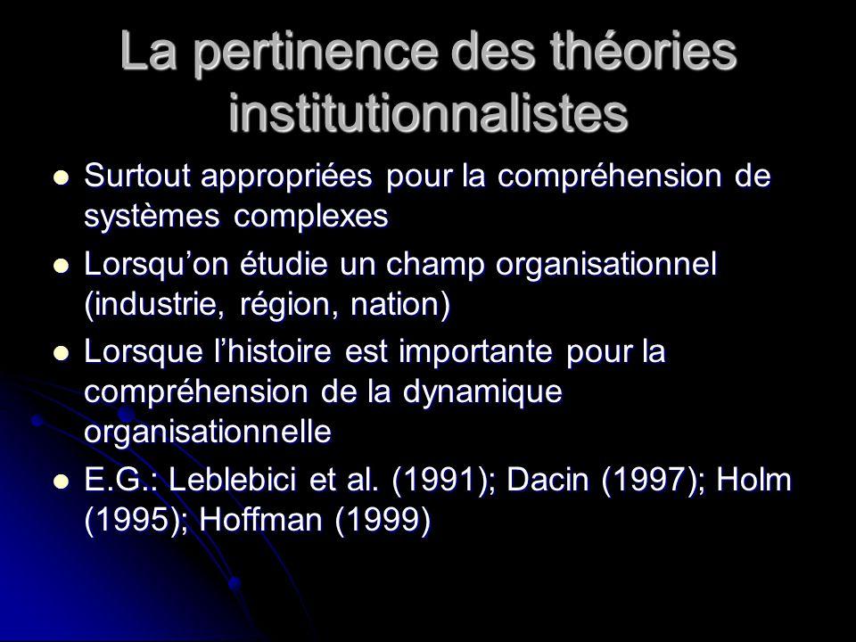 La pertinence des théories institutionnalistes Surtout appropriées pour la compréhension de systèmes complexes Surtout appropriées pour la compréhensi
