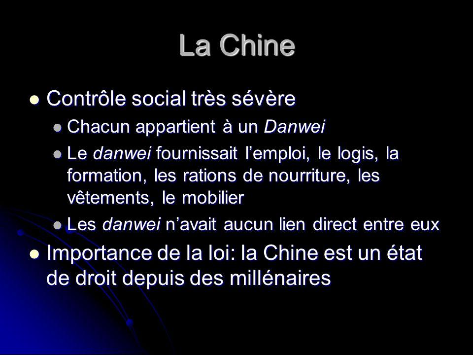 La Chine Contrôle social très sévère Contrôle social très sévère Chacun appartient à un Danwei Chacun appartient à un Danwei Le danwei fournissait lem