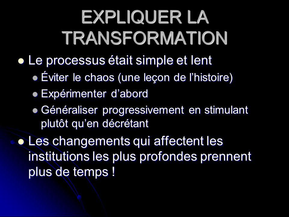 EXPLIQUER LA TRANSFORMATION Le processus était simple et lent Le processus était simple et lent Éviter le chaos (une leçon de lhistoire) Éviter le cha