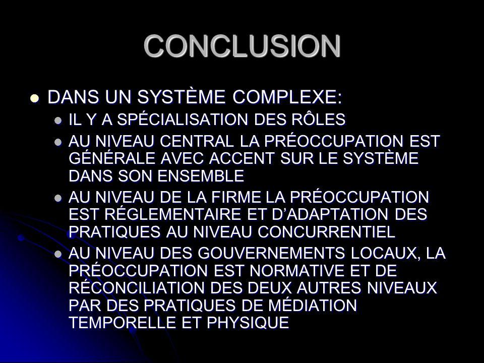 CONCLUSION DANS UN SYSTÈME COMPLEXE: DANS UN SYSTÈME COMPLEXE: IL Y A SPÉCIALISATION DES RÔLES IL Y A SPÉCIALISATION DES RÔLES AU NIVEAU CENTRAL LA PR