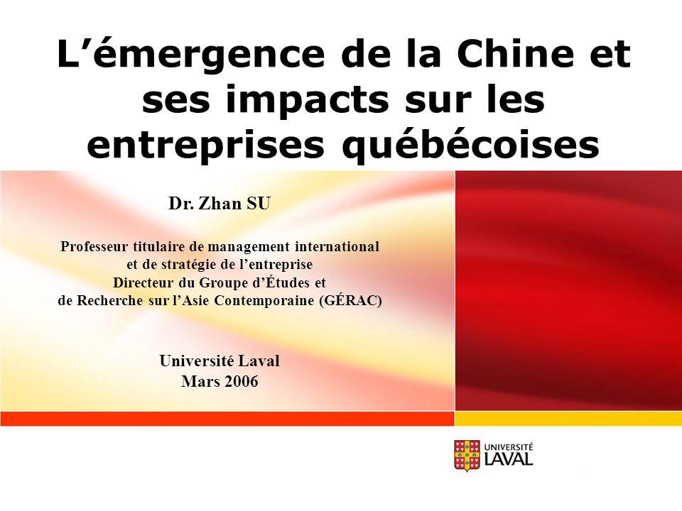 La Chine: Un pays en développement, mais atypique Des avantages absolus au niveau des coûts, des avantages comparatifs au niveau de la productivité et des avantages compétitifs dans plusieurs segments du secteur technologique: - 30% des produits exportés en 2004 sont des high-tech; - selon une étude de McKinsey (2002), la productivité chinoise dans quelques secteurs manufacturiers est déjà 20% plus élevée que celle des pays européens; - 3ème pays en importance dans les investissements en R&D (60MM$); - environ 1 million de demandes pour des brevets, marques et dessins industriels ont été reçues entre 2000 et 2004, dont 90% provient de lintérieur; - de plus en plus de MNE implantent leurs centres de R&D en Chine (déjà plus que 700).
