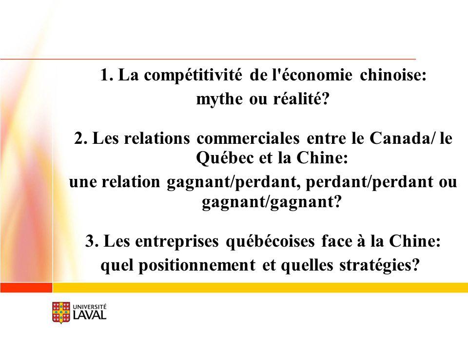 1. La compétitivité de l'économie chinoise: mythe ou réalité? 2. Les relations commerciales entre le Canada/ le Québec et la Chine: une relation gagna