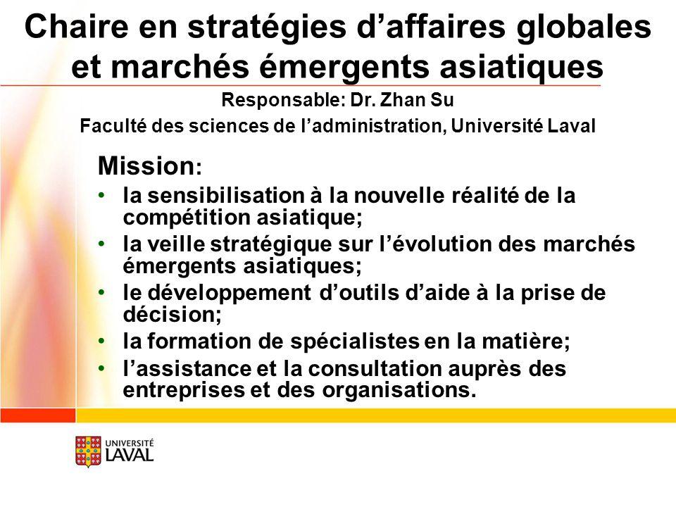 Chaire en stratégies daffaires globales et marchés émergents asiatiques Mission : la sensibilisation à la nouvelle réalité de la compétition asiatique