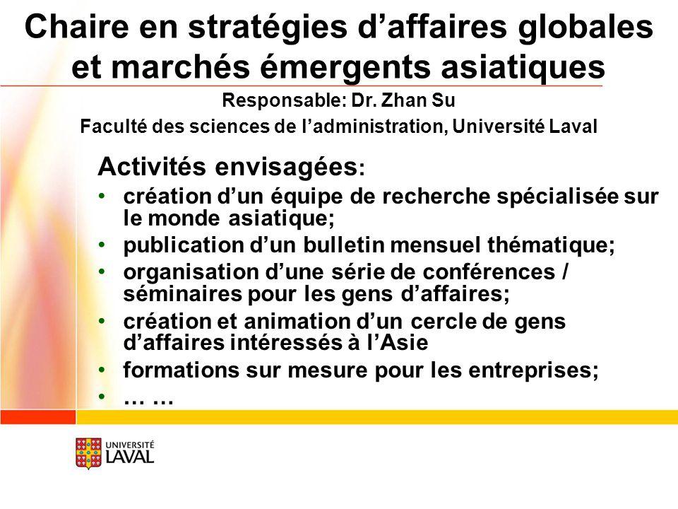 Activités envisagées : création dun équipe de recherche spécialisée sur le monde asiatique; publication dun bulletin mensuel thématique; organisation