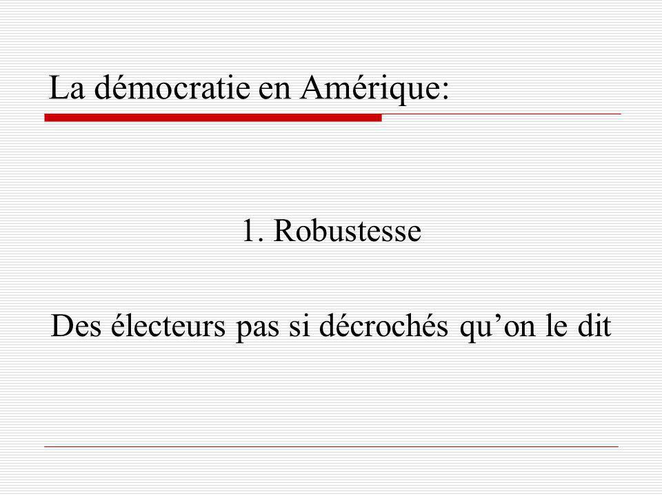 La démocratie en Amérique: 1. Robustesse Des électeurs pas si décrochés quon le dit