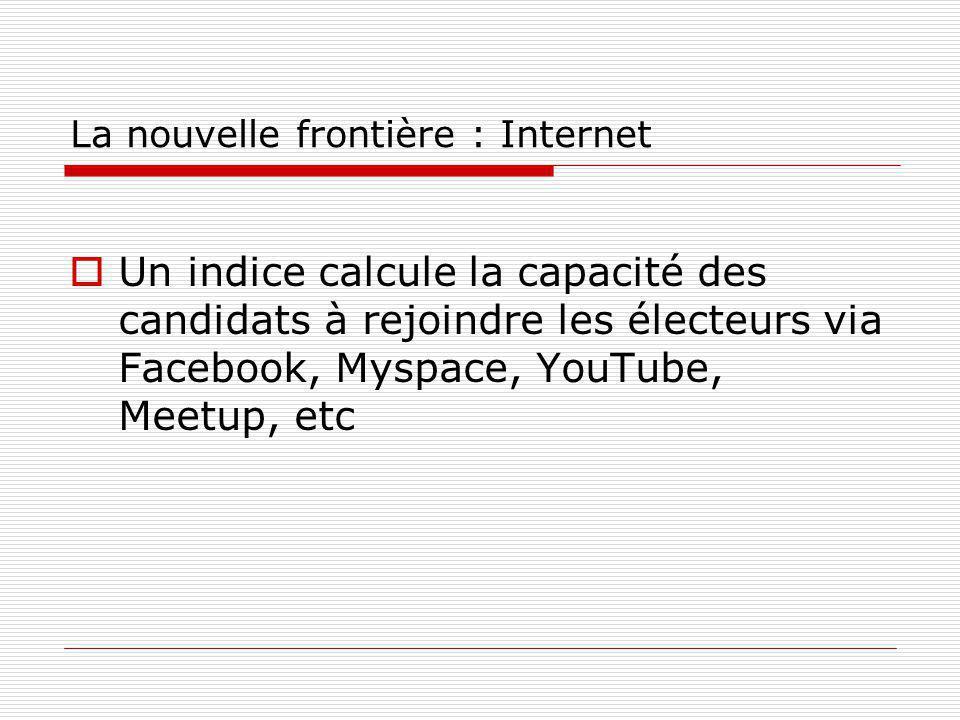 La nouvelle frontière : Internet Un indice calcule la capacité des candidats à rejoindre les électeurs via Facebook, Myspace, YouTube, Meetup, etc