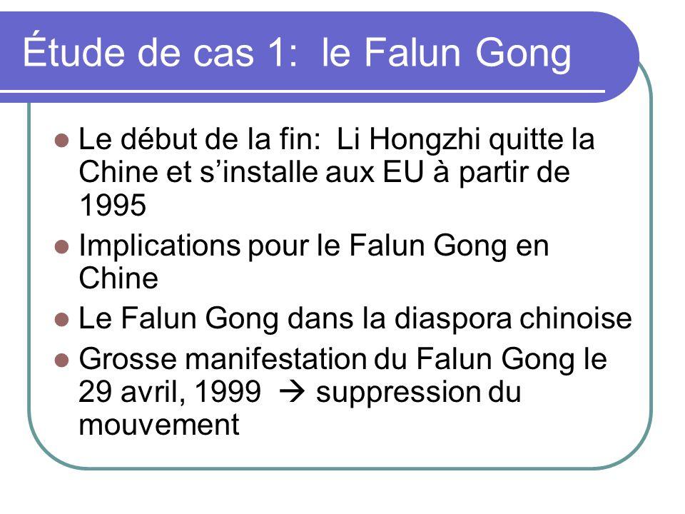 Étude de cas 1: le Falun Gong Le début de la fin: Li Hongzhi quitte la Chine et sinstalle aux EU à partir de 1995 Implications pour le Falun Gong en C