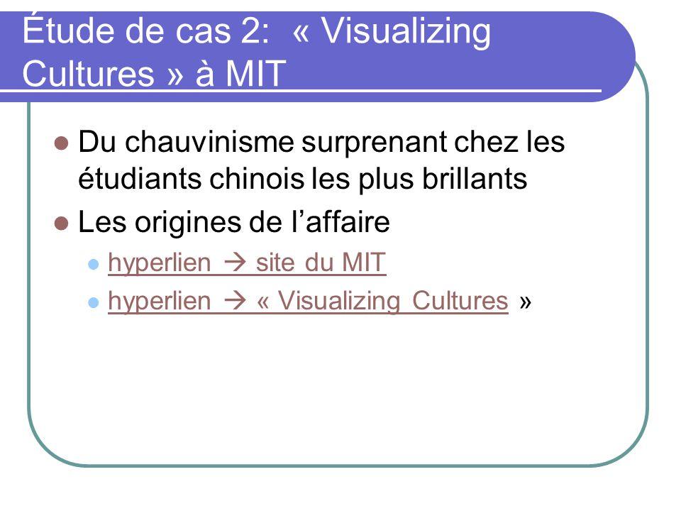 Étude de cas 2: « Visualizing Cultures » à MIT Du chauvinisme surprenant chez les étudiants chinois les plus brillants Les origines de laffaire hyperl