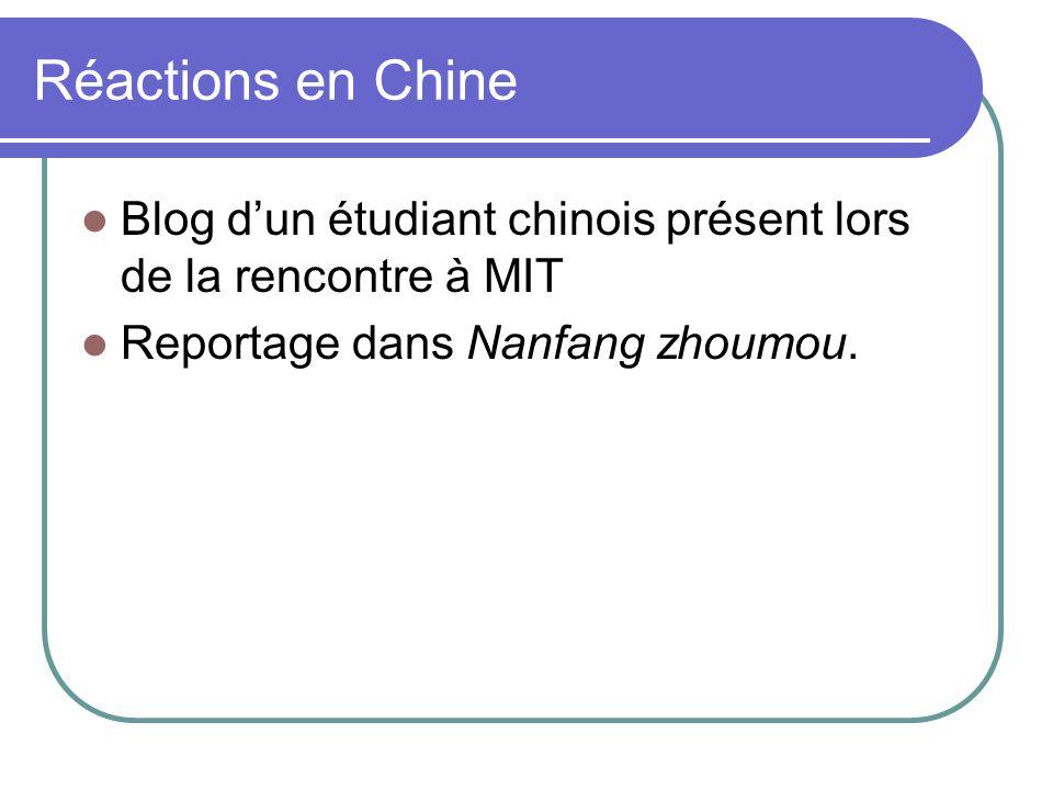Réactions en Chine Blog dun étudiant chinois présent lors de la rencontre à MIT Reportage dans Nanfang zhoumou.