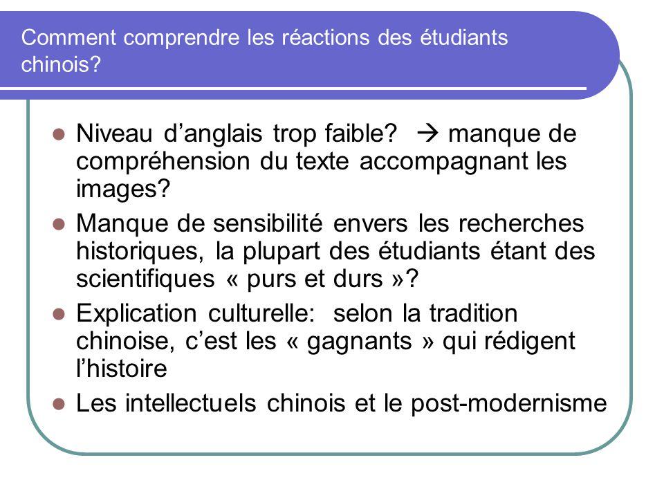 Comment comprendre les réactions des étudiants chinois? Niveau danglais trop faible? manque de compréhension du texte accompagnant les images? Manque