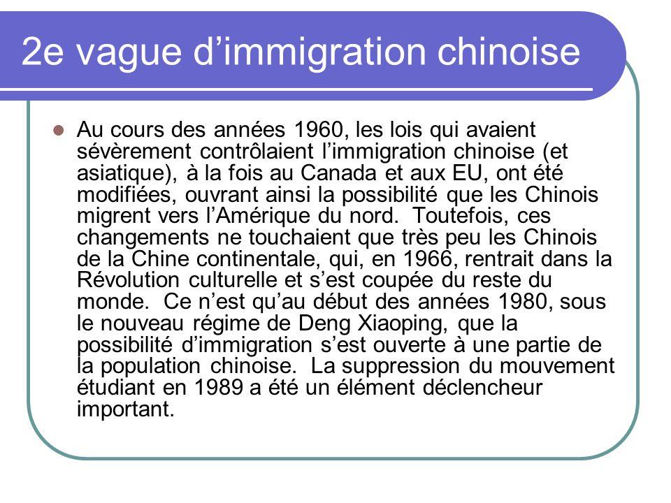 2e vague dimmigration chinoise Au cours des années 1960, les lois qui avaient sévèrement contrôlaient limmigration chinoise (et asiatique), à la fois